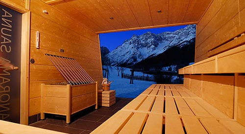 Finnish sauna with panoramic view