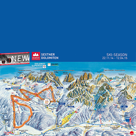 Map of the Skiarea Dolomites of Sesto
