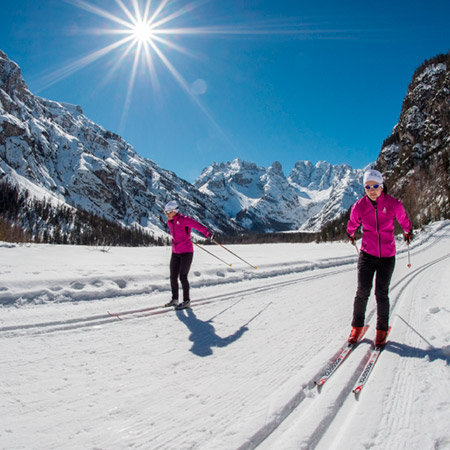 Cross-country skiing in the Dolomites of Sesto