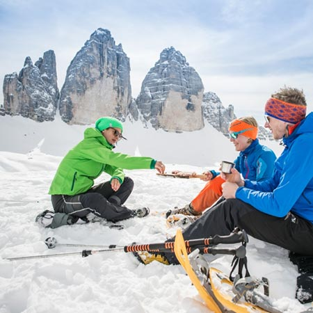 Snow shoe hikes in the Sesto Dolomites